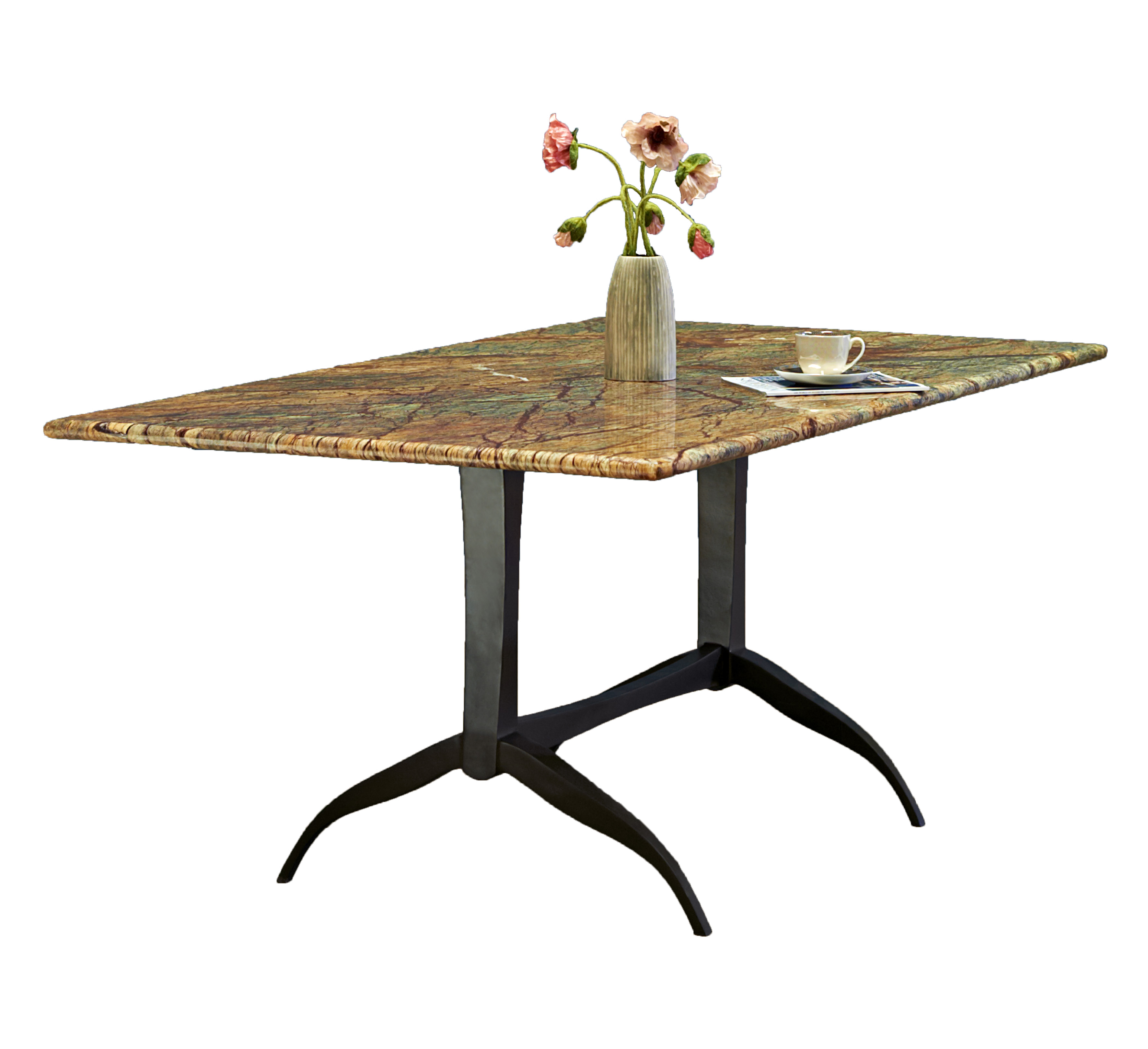 METAL BASE DINING TABLE WITH MARBLE TO_002